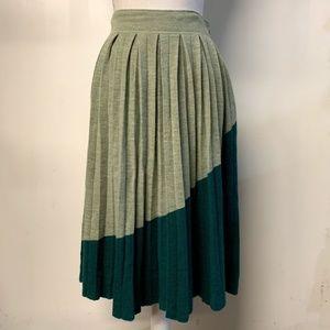 Charlie & Robin Anthro Green Pleated Wool Skirt